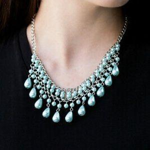 Soft Pastel Sage Green Teardrop Pearl Necklace Set